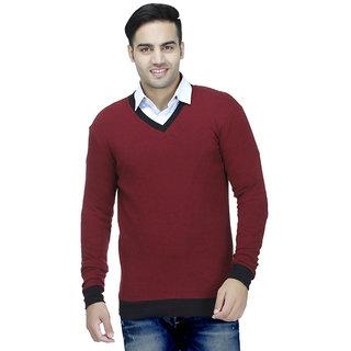 Inkdice Mens Sweater V-neck Cotton Blend full sleeves (Red NRED)