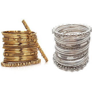 Chrishan High Gold Plated Designer Combo Of Silver And Gold Metal Bangle set.