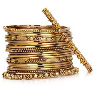 Chrishan High Gold Plated Designer Alloy Gold Metal Bangle set.