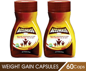 Accumass Ayurvedic Capsules 60Caps For Weight Gain (Pack of 2)