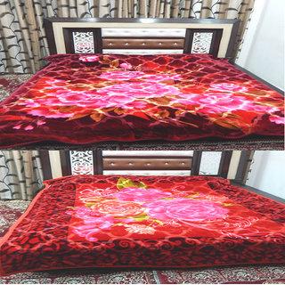 Peponi (Pack of 2) 3 kg floral Double Bed Mink Embossed Blanket - Multi