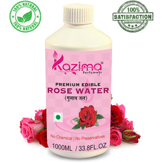 KAZIMA 100% Pure Natural Edible RoseWater (Gulab Jal) For Used in Coocking, Cakes (Edible Grade) (No Chemical | No Preservatives) (1000ml)