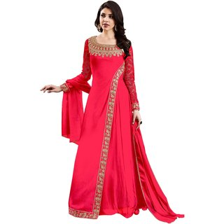 Shoponbit Georgette Satin Semi-Stitched Anarkali Suit (Pink Bottom, Pink Dupatta)