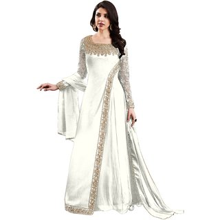 Anarkali for women's ( Shoponbit Present georgette satin Semi-Stitched Anarkali Suit for women's color Top - White Bottom - White Dupatta - White Occasion - party wearoccasion wearfestival wearspecial look Sleeve - Full Neck Style - Broad Neck