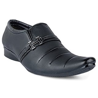 Aadi Men's Black Faux Leather Slip On Formal Shoes