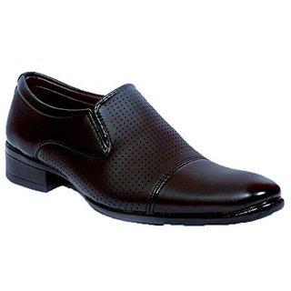 Aadi Men's Black Faux Leather Slip On Formal Shoes