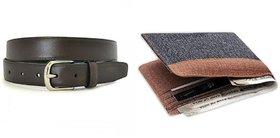 Pack of Unique Denim Wallet + Black Belt ( Dw-032)