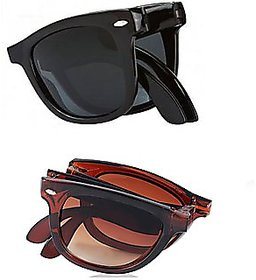 Austin Black & Brown UV Protection Wayfarer Unisex Folding Sunglasses