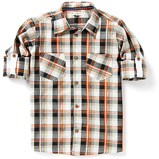 Boys Check Shirt With Roll Up Sleeve And Brown Wooden Button
