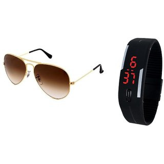 632a5e7701 Buy Classic Brown Aviator And Black Led Band Watch GS-112 Online - Get 69%  Off
