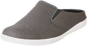 Fausto Mens Grey Canvas Slip On Shoes