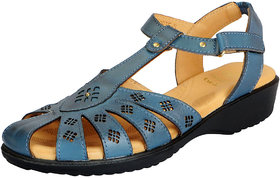 Dr.Scholls Women's Blue Leather Outdoor Closed Sandals and Floaters