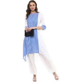 Ziyaa Blue Checks Crepe Kurti For Women
