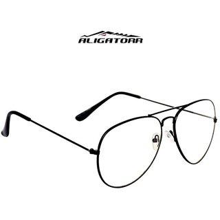 Aligator Transparent UV Protected Black Metal Full Rim Aviator Unisex Sunglasses