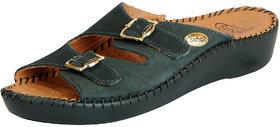 Dr.Scholls Women's Dark Green Leather Outdoor Buckle Sandals and Floaters