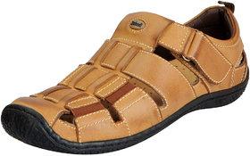 Dr.Scholls Men's Tan Leather Outdoor Velcro Sandals And