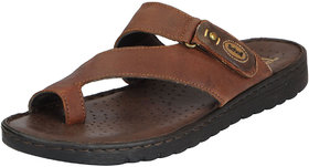 Dr.Scholls Men's Brown Leather House And Daily Wear Toe