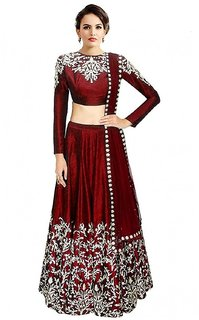 Fabwomen Red Banarasi Silk Embroidered Semi Stitched Lehenga