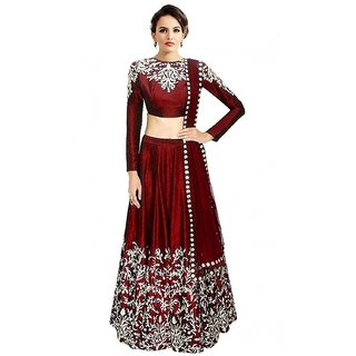 Fabwomen Red Banarasi Silk Embroidered Semi Stitched Lehenga