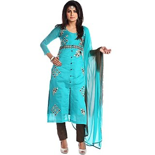 Fabwomen Embroidered Cyan Coloured Chanderi Fashion Shervani Style Party Wear Salwar Suit / Dress Materials.- (Unstitched)