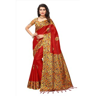 Fabwomen Red Khadi Floral Saree With Blouse
