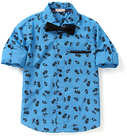 Boys Printed Shirt With Black Cut Pocket And Black Wooden Button With Bow