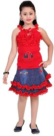 Saarah Red And Blue Top And Skirt Set