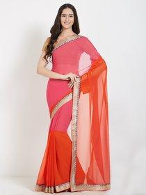 Pink and Orange Bhagalpuri Silk Printed Saree