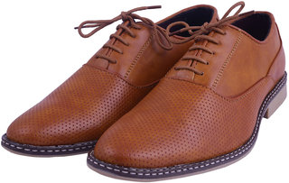 VISACH Men Lace up Tan Formal Shoes (VSFOOTWEAR105)