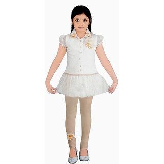 Saarah White Top And Pyjama Set For Girls