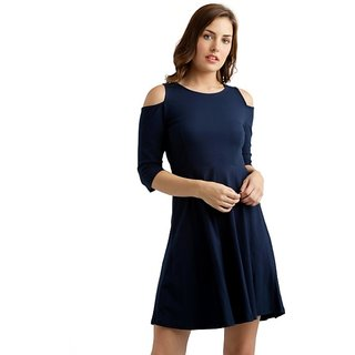 Women s Navy Blue Round Neck 3 4 Sleeves Solid Knee-Long Cold Shoulder  Skater 46660a4448