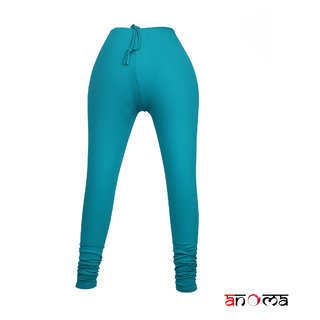 ANOMA Cotton Solid Ice Blue Leggings For Women's