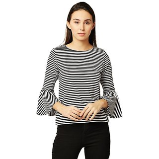 67613614e19bf Buy Women s Black And White Round Neck Ruffled Frilled 3 4 Sleeve Cotton  Striped Top Online - Get 57% Off