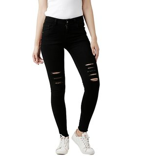 Women's Black Slim Fit High Rise Regular Length Mild Distressed Embroidered Patch Ripped Denim Stretchable Jeans