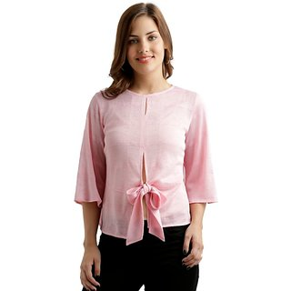 Women's Pink Round Neck 3/4 Sleeve Solid Front Slit Textured Knotted Top