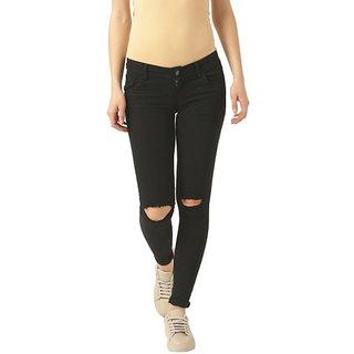 Women's Black Slim Fit High Rise Regular Length Denim Jeans