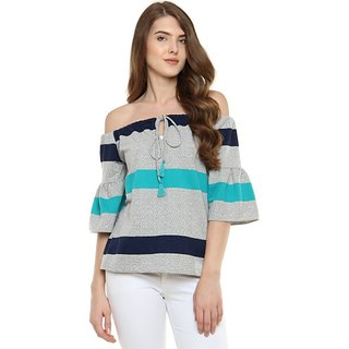 53b8be4e0b3d41 Buy Women s Multicoloured Bardot Style 3 4 Sleeves Striped Off Shoulder  Ruffled Top Online - Get 57% Off