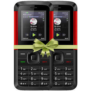 Combo of IKall K5310 (Dual Sim, 1.8 Inch Display, 800 Mah Battery, Made In India, Black-Red)