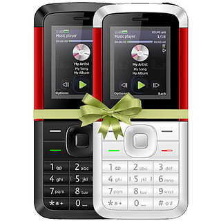 Combo of IKall K5310 (Dual Sim, 1.8 Inch Display, 800 Mah Battery, Made In India, Black-Red and White-Red)
