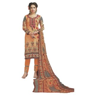SrishtiCreations  Women's Glace Cotton Salwar Suit With Dupatta.(Unstitched)