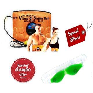 GAURAV MART Combo of 3 in 1 Sauna Massager Slimming Vibrating Fat Burner Belt Vibration + EYE COOL