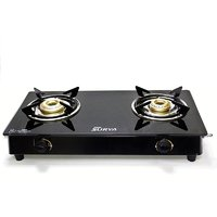Fabiano FabSurya 2 Burner Toughened Glass Top Manual Gas Cooktop - Black