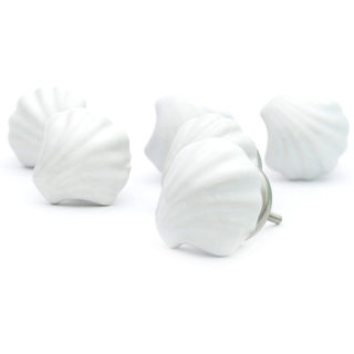 Beautiful Casa Decor Pack Of 6 Carved Shell Ceramic Cupboard Cabinet Door Knobs  Drawer Pulls U0026 Hardware