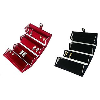 ADWITIYA Set of 2 -Blue  Red Velvet Earring Folder Studs Storage Tops Case Travel Friendly Gift Paperboard Jewelery Box