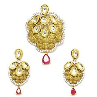Lovely Jadau Pendant Set Embellished with Synthetic Stones - JSPE0007