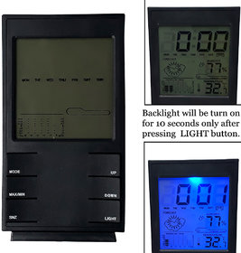 Weather Forecast Station Digital LCD Table Car Desk Alarm Clock with Calander Indoor Outdoor Thermometer Humidity Meter