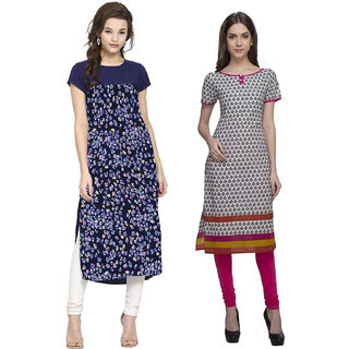 Meia Printed 1 Cotton and 1 Crepe Stitched Kurti (Combo - Set of Two)