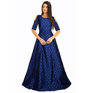 Active Womens Jacquard Taffeta Fancy Silk Semi-Stitched Free Size Sofiya Blue Gown