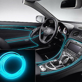Ice Blue 5 Meter Car Interior Decoration Cold Light Line EL Wire ( works with all cars )