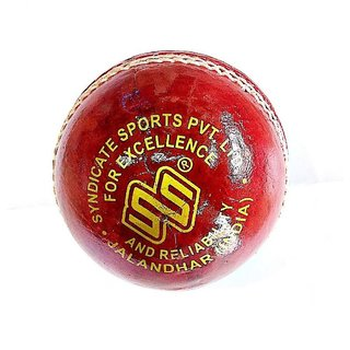 Set of 2 Pcs SS Syndicate Genuine Four Cut Leather Cricket Ball Red Color